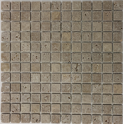 Travertine Noce Tumbled  | 12x12 inch | Natural Stone | Mosaic | Code: TRA0110