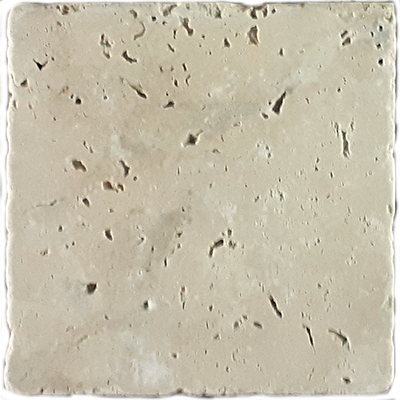 Travertine Lt. Beige Tumbled | 4x4 inch | Natural Stone | Wall | Code: TRA0400