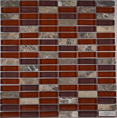 Accord Old Rose  | 12x12 inch | Glass/Stone | Mosaic | Code: MB302