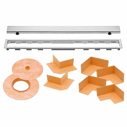 Schluter Kerdi-Line Kit | 51 inch Closed Brushed Stainless Steel Grate | Code: KLAR19EB130