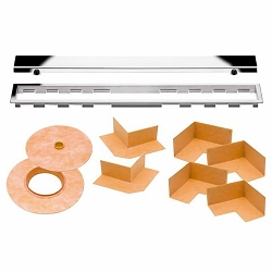 Schluter Kerdi-Line Kit | 47 inch Closed Chrome Grate | Code: KLAR19EP120