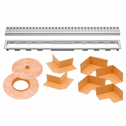 Schluter Kerdi-Line Kit | 62 inch Closed Brushed Stainless Steel Grate | Code: KLB19EB160