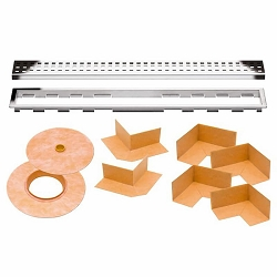 Schluter Kerdi-Line Kit | 43 inch Perforated Chrome Grate | Code: KLB19EP110