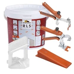 Raimondi Tile Leveling System 3D Clip Starter Kit | 75 Clips, 75 Wedges, & 1 Pair Pliers | Code: 180KIT3D