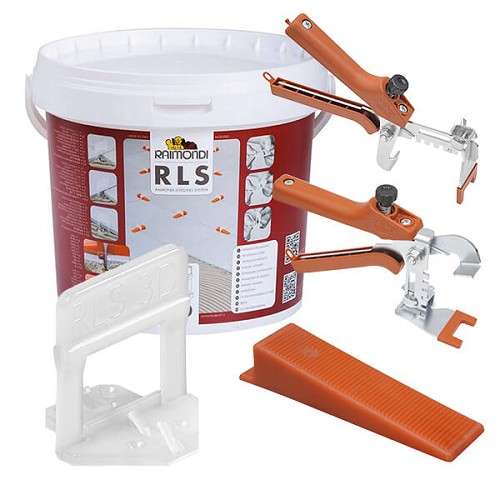 Raimondi 1.5 mm Tile Leveling System 3D Clip Starter Kit | 75 Clips, 75 Wedges, & 1 Pair Pliers | Code: 180KIT3D