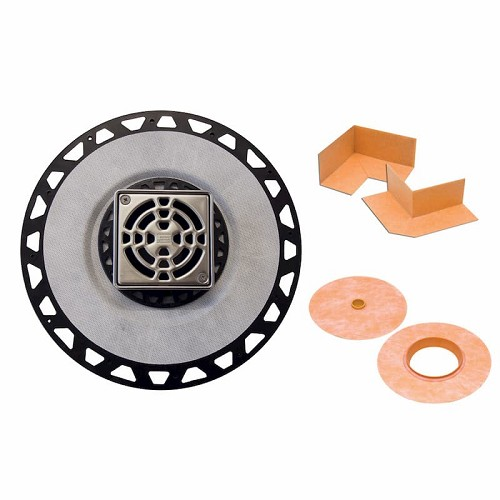 Schluter Kerdi-Drain Kit | 2 inch ABS Outlet | 4 inch Stainless Steel Grate | Code: KD2ABSE