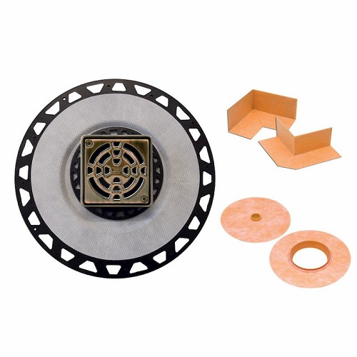 Schluter Kerdi-Drain Kit | 2 inch ABS Outlet | 4 inch Oil Rubbed Bronze Grate | Code: KD2ABSEOB