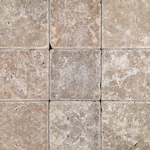 Travertine Noce Tumbled | 4x4 inch | Natural Stone | Wall | Code: TRA0410